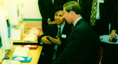 Tuhel Miah with HRH the Prince of Wales, Prince Charles talk about the Internet