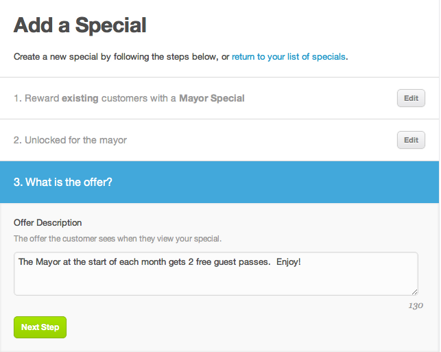 foursquare mayor special